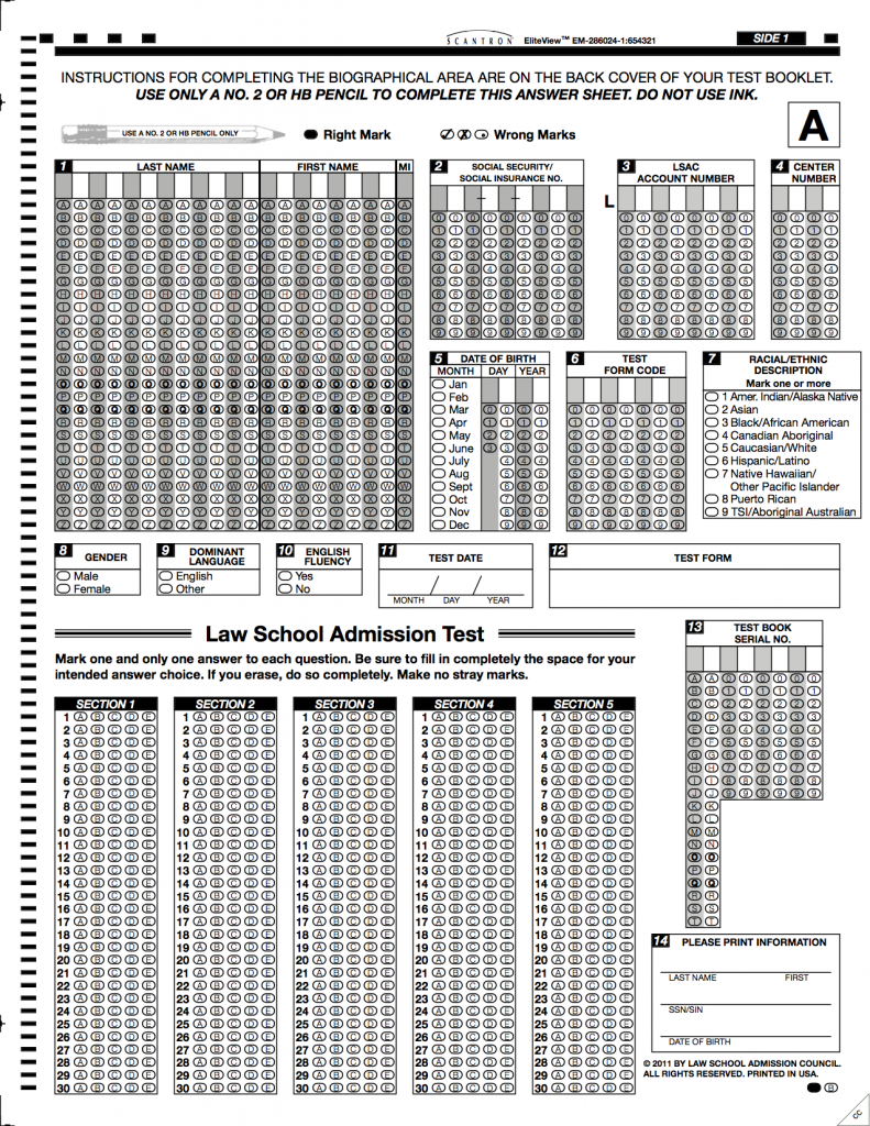 LSAT Preptest Bubble Answer Sheet